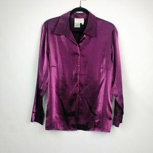 Vintage Purple Iridescent Button Blouse
